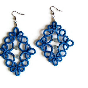 Blue boho beaded earrings