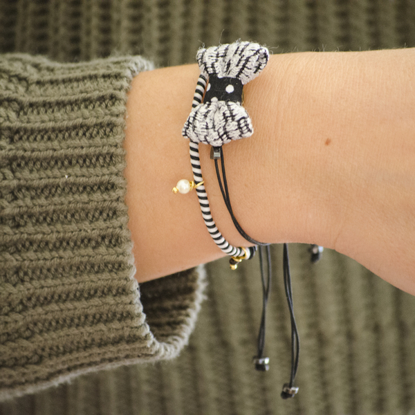 Bow Bracelets Set Black&White