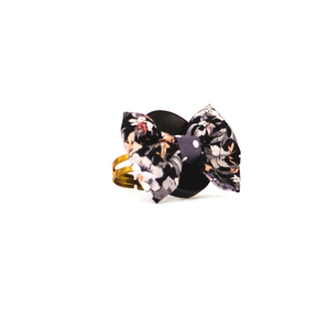 Black Lily Button Ring
