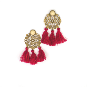 Wine Tassels Filigree Stud Earrings