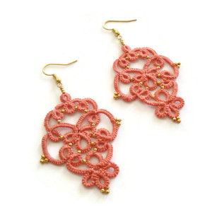 Salmon pink lace earrings