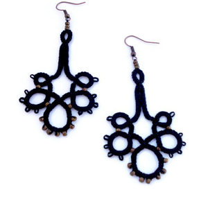 Black chandelier lace earrings