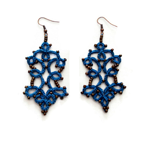 Boho blue lace earrings