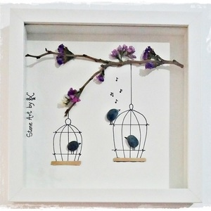 "NEW!!! Stone Art ""...Birds in a cage"""