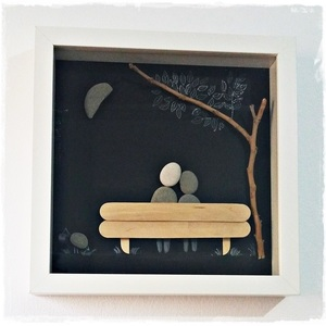 "NEW!!! Κάδρο Stone Art ""...Couple in the moonlight"""
