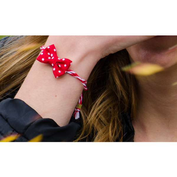 Playful March Red Polka Bow