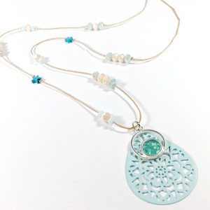 Aqua unique summer necklace