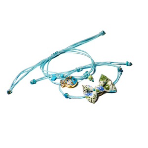 Bow Bracelets Set Blue Marine