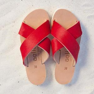 SANDALS RED flat cross cross