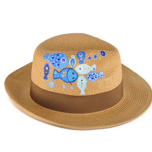 BLUE FISH HANDPAINTED FEDORA HAT