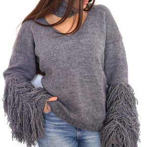 Hairy sleeved sweater