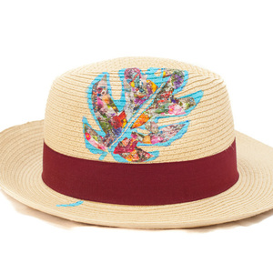 THE COLLAGES PHILODENDRON HANDPAINTED FEDORA HAT (RED)