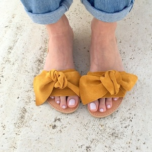 bow sandals mustard