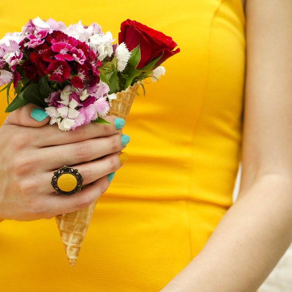 Mustard Button Ring