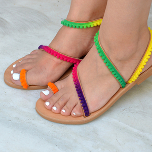 Rainbow Leather Sandals