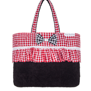 Gingham in red beach bag