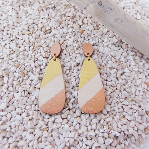 Colorful wooden earrings