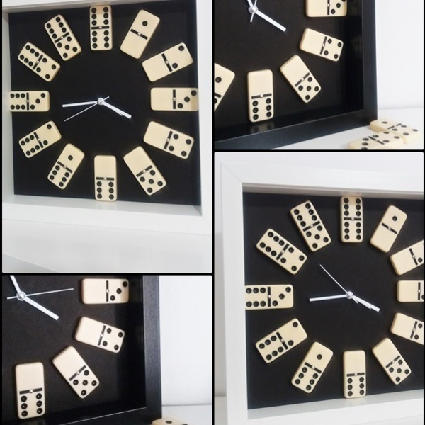 Domino Clock with black or white frame