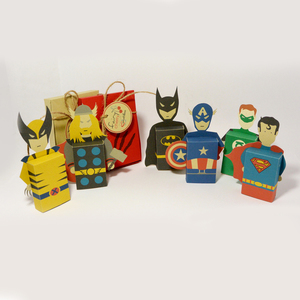 Emotibox 3D ευχητήρια καρτούλα σουπερ ήρωες, Batman, Superman, Wolverine, Thor, Green Lantern, Captain America