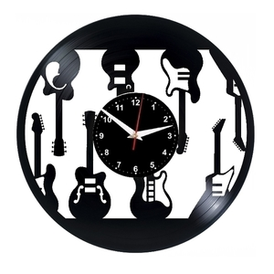 Guitars Vinyl Records Wall Clock