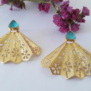 Chrysocolla Stone Butterfly Earrings