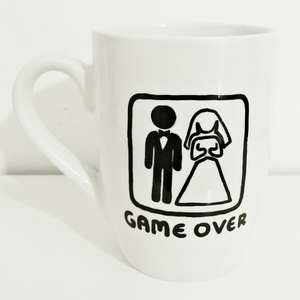 "Handpainted mug""Game Over"""