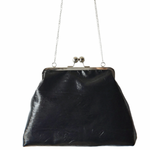 """Evenos"" black, faux, vintage clutch bag"
