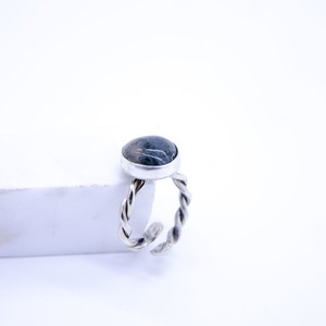 """Green Agate"" silver 925 ring"
