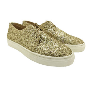 MARGO SHOES Plus Size Oxford Glitter Gold