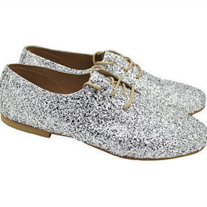 "MARGO SHOES Plus Size Oxfords ""GLITTER DROPS"" Ασημί"