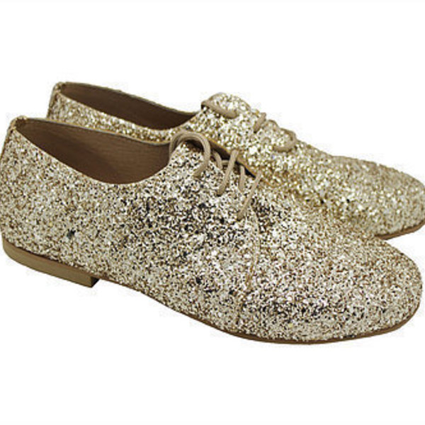 "MARGO SHOES Plus Size Oxford ""GLITTER DROPS"" Χρυσό"
