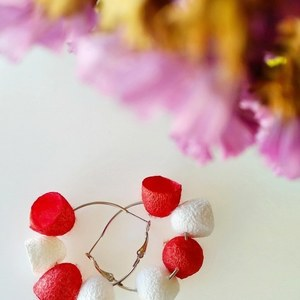 Red white silk cocoon earrings