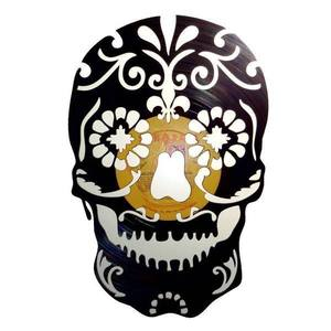 skull Vinyl Records Wall Clock