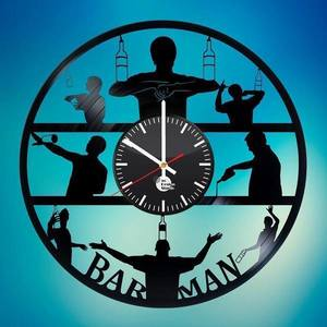 BAR man Vinyl Records Wall Clock