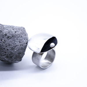 """Shell"" Ring, Silver 925, Fresh water pearl"