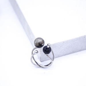 """Bull"" Ring, Silver 925, Oxidized Silver 925, Lava Gemstone"