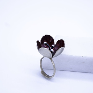 """Dark Red Poppy"" Ring, Boho & Hippie Style Jewelry"