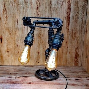 T A L O S, Double Pendant Pipe Lamp, Industrial Steampunk Desk Lamp, Steampunk Lamp Switch, Gear Art, Recycled Lamp, Unique Gift Shop