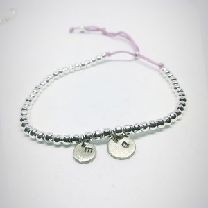 """Initial"" bracelet with silver plated beads and alpaca hand stamped letters"