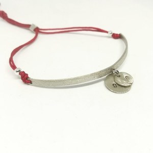 """Initial"" I.D bracelet with alpaca and alpaca hand stamped letters"