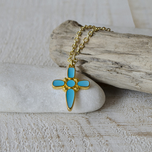 Turqoise cross necklace