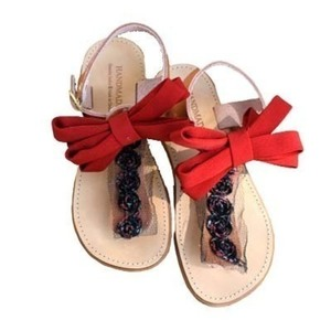 Bow sandals for girls,handmade and 100% made of genuine leather.