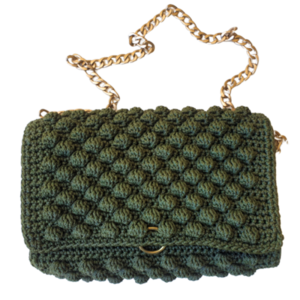 LUXURY CROCHET BAG WITH CHAIN - τσάντα ώμου