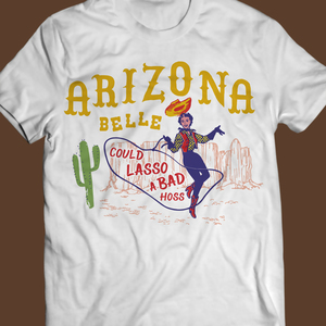 Arizona, cowgirl, pinup wild west vintage retro t-shirt με λάσο και κάκτους.