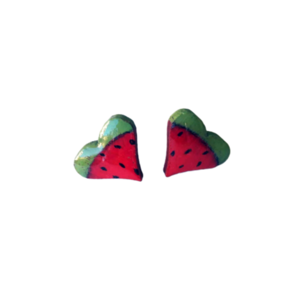 "Stud earrings ""Watermelon hearts""."