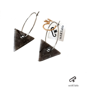 Handmade geometric earrings in marble stone