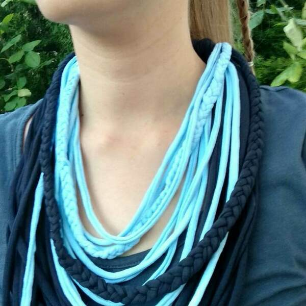 Braided boho scarf necklace/ κολιέ φουλάρι