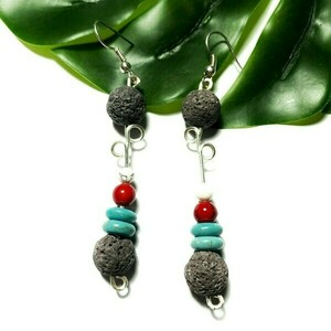Grey lava earrings