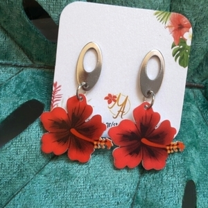 Hibiscus Earrings,Laser cut acrylic earrings, Plexi σκουλαρίκια