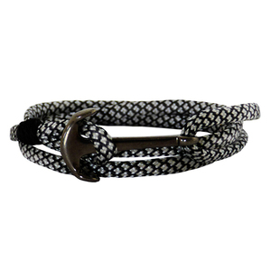 Ανδρικό βραχιόλι Anchor gun metal black-white cord